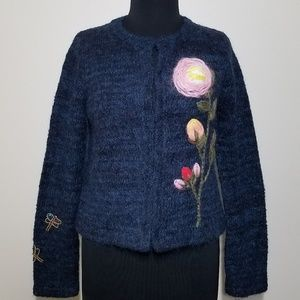 Anthro Moth Vertical Garden Cardigan Sweater Small